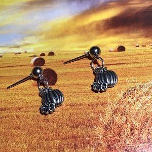 Pumpkin earrings stainless studs silver fall 925
